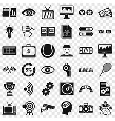 home video icons set simple style vector image