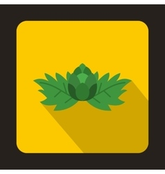 Hop with leaves and cone icon flat style vector