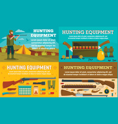 hunting equipment banner set flat style vector image