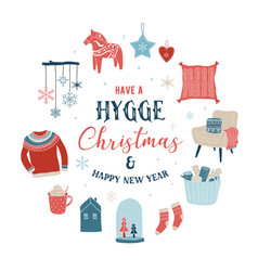 Hygge winter elements and concept design merry vector