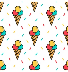 Ice cream and confetti seamless pattern background vector image
