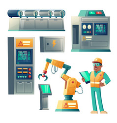industrial equipment and factory worker vector image