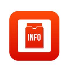 info folder icon digital red vector image