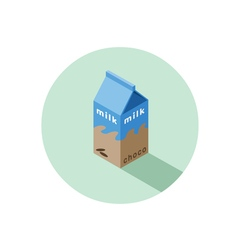 Isometric of chocolate milk box vector