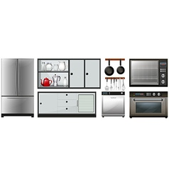 Kitchen appliances and furniture vector image