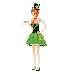 Leprechaun girl with gold coins2 vector image