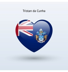 Love Tristan da Cunha symbol Heart flag icon vector