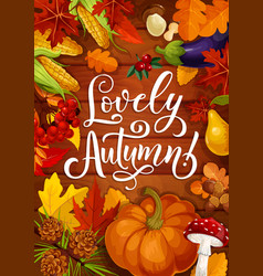 lovely autumn poster with fall pumpkin and leaf vector image