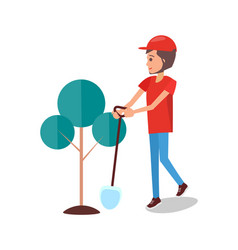 man digging pit to plant tree gardener vector image
