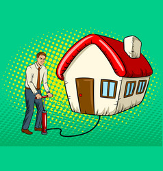 Man inflate house pop art vector