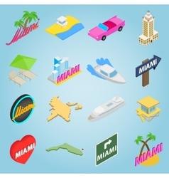 Miami set icons isometric 3d style vector