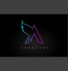 Neon a letter logo icon design with creative wing vector