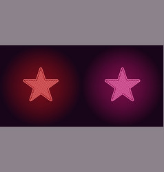 Neon icon of red and pink star vector