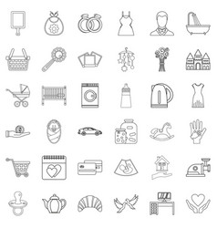 nepotism icons set outline style vector image
