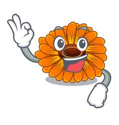 Okay calendula flowers in a cartoon basket vector