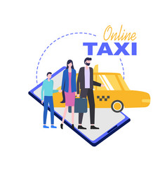 online taxi mobile phone service vector image