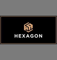 Pa hexagon logo design inspiration vector