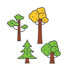 park trees line icon concept park trees flat vector image