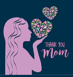pink silhouette woman with floral hearts thank mom vector image