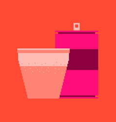 pixel icon in flat style can of soda and glass vector image