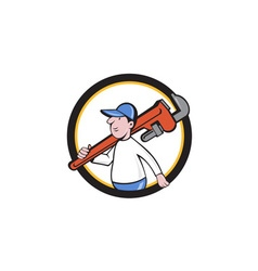 Plumber Holding Monkey Wrench Circle Cartoon vector
