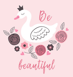 poster with beautiful princess white swan vector image