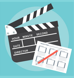 Poster with clapperboard vector