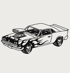 powerful custom muscle car with flame decal vector image