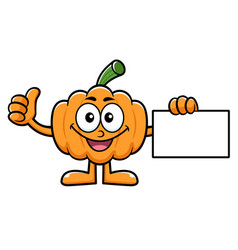 Pumpkin character business card and thumb up vector