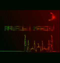 Ramadan kareem greeting cards neon sign style vector