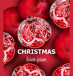 red christmas balls decoration banner vector image