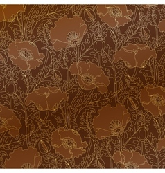 retro pattern gold poppies vector image