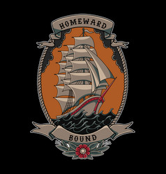 sailing ship traditional tattoo style vector image