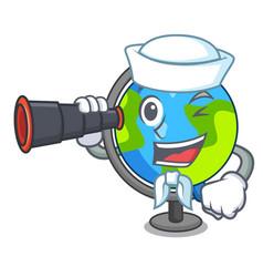 Sailor with binocular globe mascot cartoon style vector