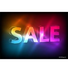 sale marketing effect neon dark background vector image