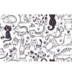 Seamless pattern with hand draw funny cats vector