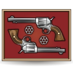 set revolvers drawn in vintage style vector image