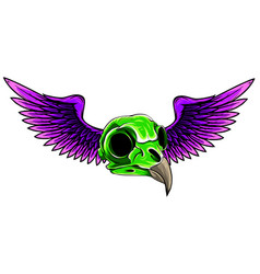 Side skull with wings art vector