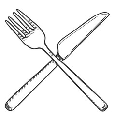 sketch crossed cutlery fork and knife vector image