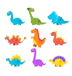Small Colourful Dinosaur Set Cute vector image