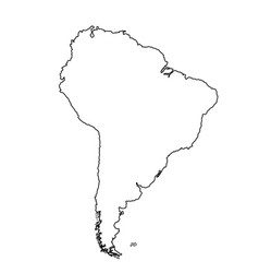 Southern america map contour silhouette vector