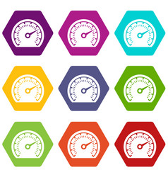 speedometer icons set 9 vector image
