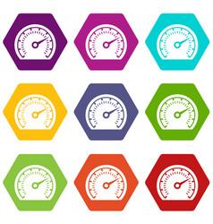 speedometer icons set 9 vector image