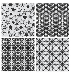 Star abstract seamless pattern texture set vector
