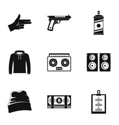 Street rap icon set simple style vector