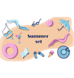 summer set with beach accessories vector image