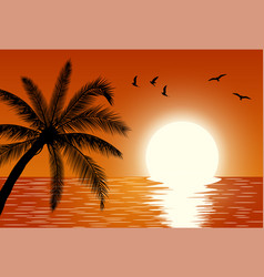 sunset summer sunset landscape vector image