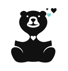 teddy bear and heart logo vector image
