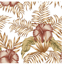 tropical botanical composition hibiscus gold palm vector image