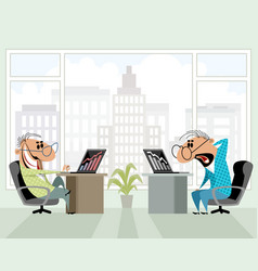 two men in the office vector image